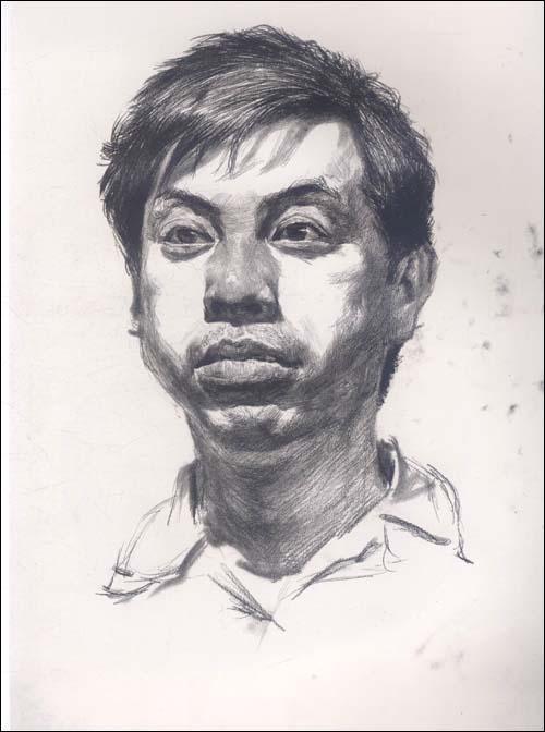 正脸素描人头像结构图朱传奇