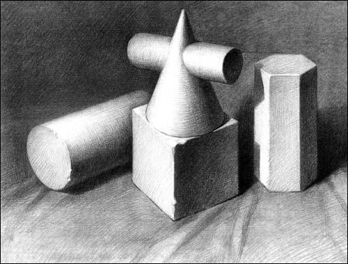 圆柱体/圆锥贯穿体/正方体/六棱柱体组合-塞尚提倡通过圆柱体,圆锥体