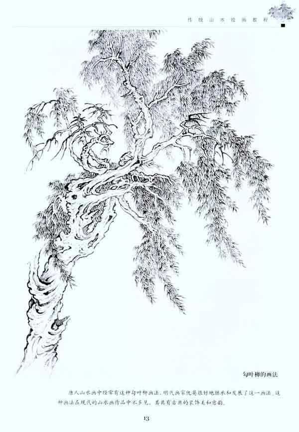 六,中远景丛树的画法 七,松树的画法和步骤 八,柳树的画法和步骤 九