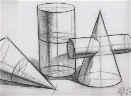 组合几何形体步骤示范  iii.结构与明暗之间  iv.明暗几何体范画
