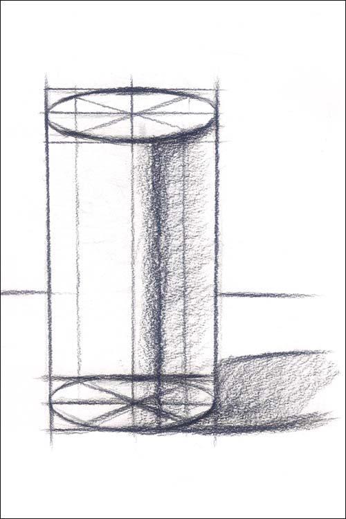 素描圆柱体的透视画法步骤